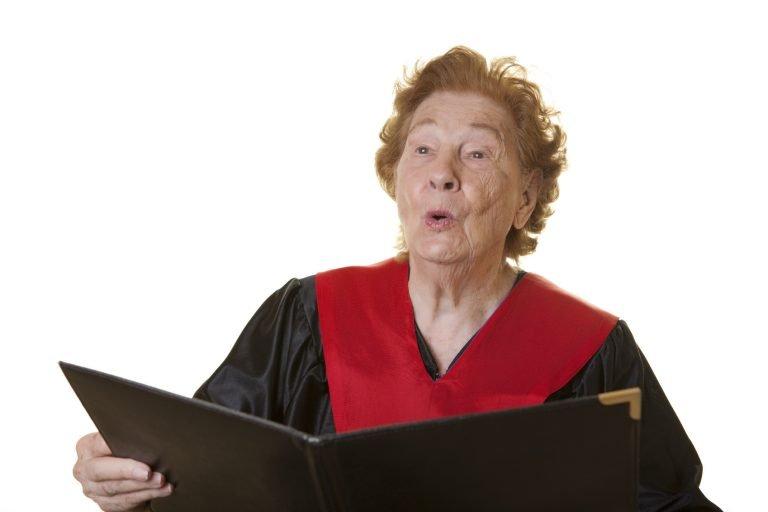 Senior making a joyful noise
