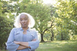 displeased senior woman