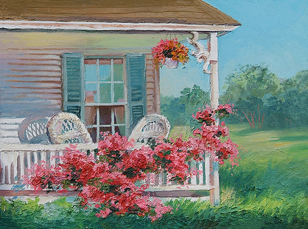 Attrayant Oil Painting U2013 House With Patio, Art Work