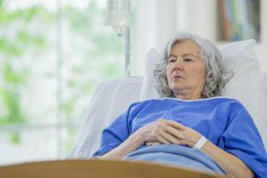 senior female in hospital bed